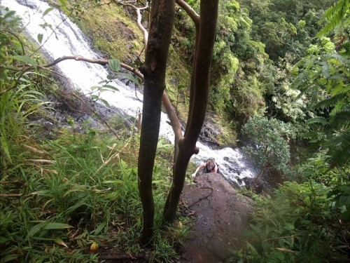 climbing up the 1st part of the 3rd waterfall