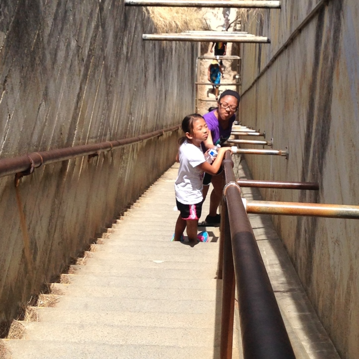 Going down these steep stairs. We avoided them coming up;)