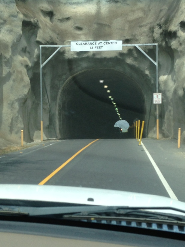 The tunnel going into the crater.